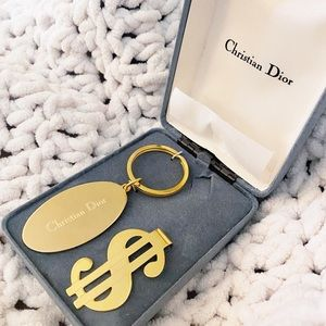 Auth. Dior RARE Vintage Gold Metal Keychain Set